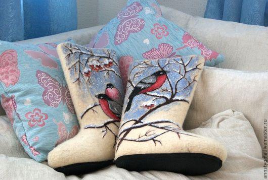 Обувь ручной работы. Ярмарка Мастеров - ручная работа. Купить снегири2. Handmade. Белый, валенки, дизайнерские валенки, обувь для улицы