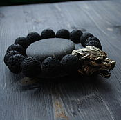 Украшения handmade. Livemaster - original item Bracelet with wolf lava. Handmade.