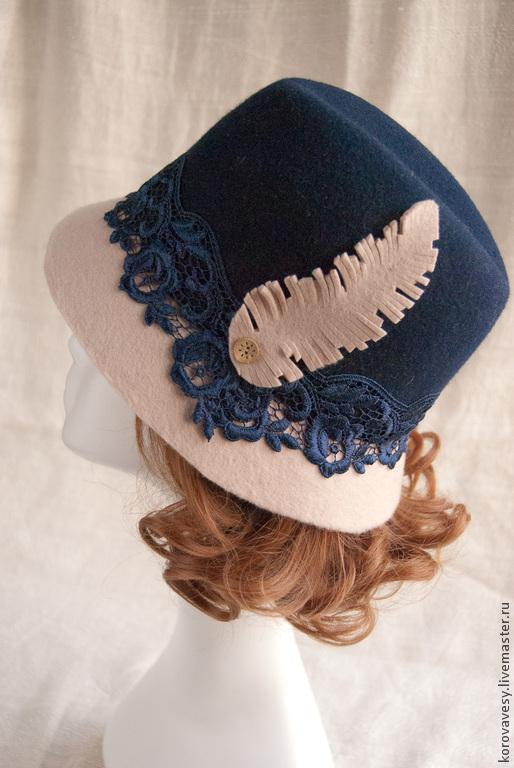 """Шляпы ручной работы. Ярмарка Мастеров - ручная работа. Купить шляпа-федора """"Синяя птица с белым пером"""". Handmade. белый"""