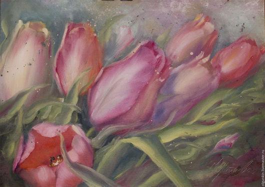 Картины цветов ручной работы. Ярмарка Мастеров - ручная работа. Купить Тюльпаны. Handmade. Фуксия, красный, розовый, желтый, зеленый
