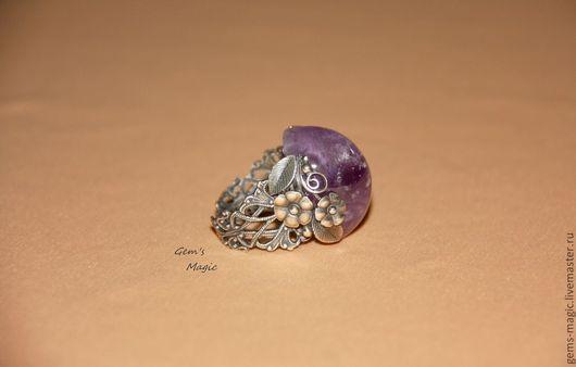 """Кольца ручной работы. Ярмарка Мастеров - ручная работа. Купить Кольцо """"Вальс цветов""""-аметист. Handmade. Фиолетовый, цветочное кольцо"""