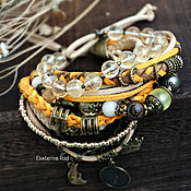 Украшения handmade. Livemaster - original item Boho-chic bracelet with pearls and citrine