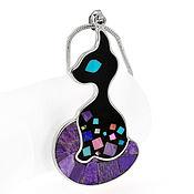 Украшения handmade. Livemaster - original item Pendant Black cat. Pendant with natural stones.. Handmade.