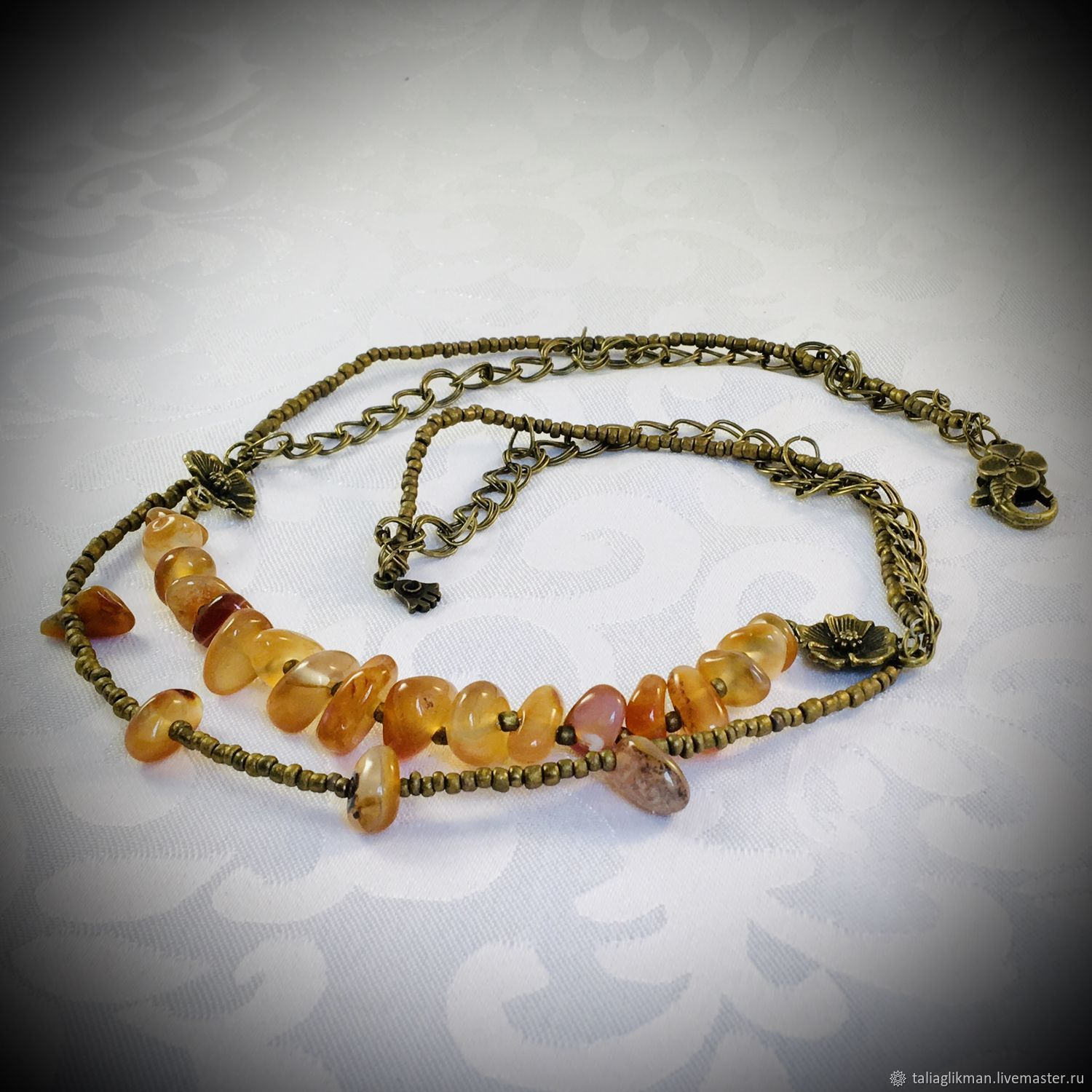 Agate necklace with bronze, Necklace, Moscow,  Фото №1