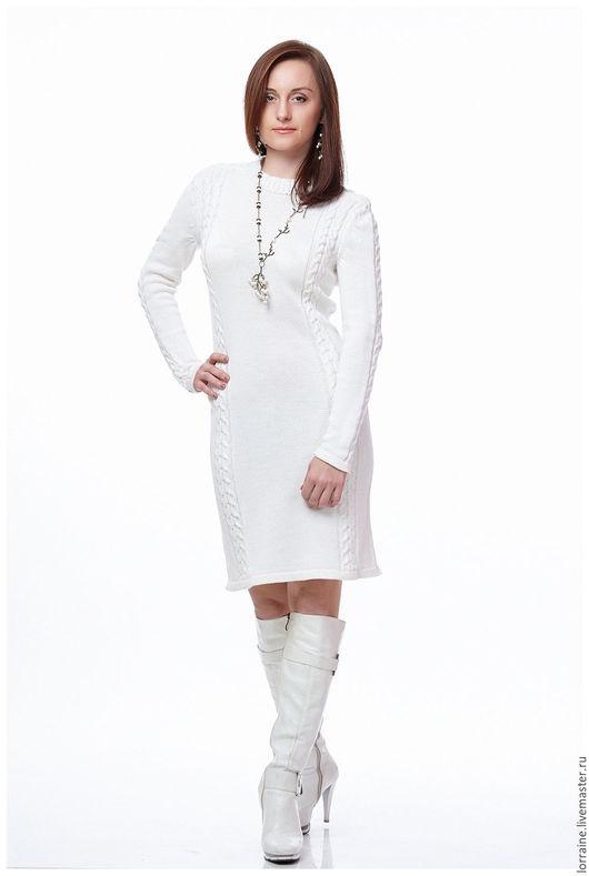 белый.шерсть.шерстяная пряжа.шерсть 100%.100% шерсть.100% ручная работа.Итальянская шерсть.шерстяное платье.трикотажное платье.платье трикотажное.вязаное платье.платье вязаное.элегантное платье