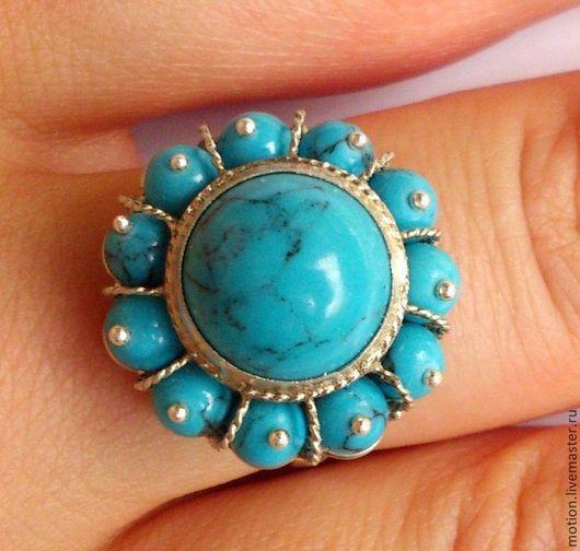 Кольца ручной работы. Ярмарка Мастеров - ручная работа. Купить Серебряное кольцо с бирюзой, ручная работа из серебра 925 пробы. Handmade.