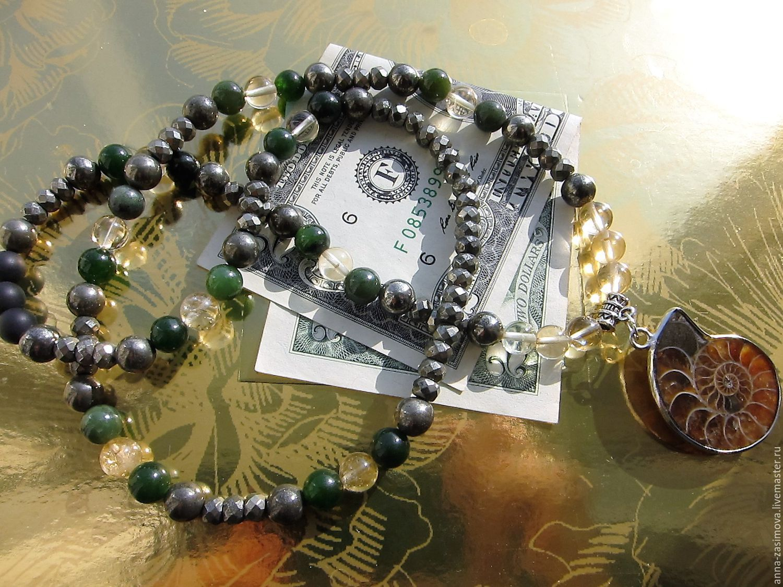 Денежный амулет из натуральных камней с подвеской-аммонитом, Талисманы, Внуково, Фото №1