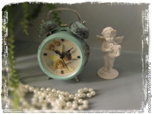 """Часы для дома ручной работы. Ярмарка Мастеров - ручная работа. Купить Будильник """"Ангелы"""". Handmade. Бирюзовый, часы декупаж, будильник"""