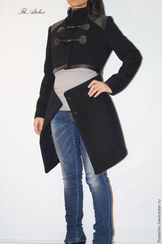 Верхняя одежда ручной работы. Ярмарка Мастеров - ручная работа. Купить Зимнее пальто с молнией/Модное пальто из кашемира/F1344. Handmade. Черный