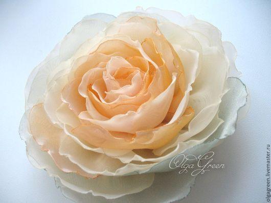 Броши ручной работы. Ярмарка Мастеров - ручная работа. Купить Брошь цветок из ткани. Handmade. Брошь цветок, светло-желтый