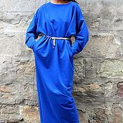 Одежда ручной работы. Ярмарка Мастеров - ручная работа Синее длинное макси платье, кафтан, абайя с длинными рукавами. Handmade.