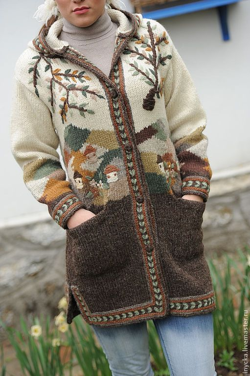 Верхняя одежда ручной работы. Ярмарка Мастеров - ручная работа. Купить Вязаное пальто W18. Handmade. Рисунок, шерсятяное пальто