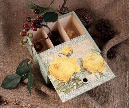 """Кухня ручной работы. Ярмарка Мастеров - ручная работа Чайная коробка """"Желтые розы....."""". Handmade."""