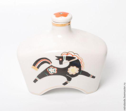 Винтажная посуда. Ярмарка Мастеров - ручная работа. Купить Фляга, фляжка, фарфор, деколь Хайта Винтаж. Handmade. Белый, конь