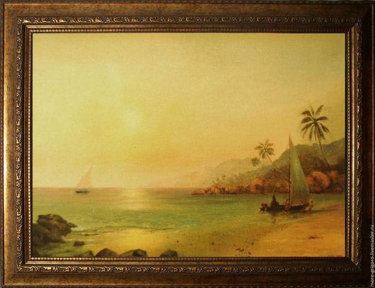 Пейзаж ручной работы. Ярмарка Мастеров - ручная работа. Купить На острове..картина маслом на холсте.морской пейзаж. классик. Handmade.