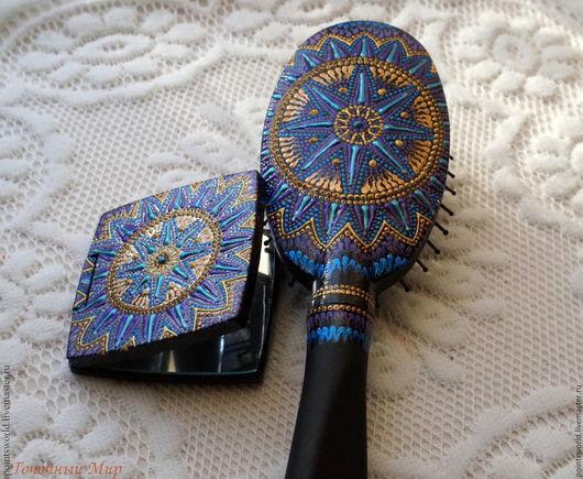 Комплект в подарок, подарочный комплект, комплект точечная роспись. комплект роспись, расческа и зеркальце, расческа с зеркалом, зеркало и расческа, массажная расческа и зеркальце, синий, снежинка