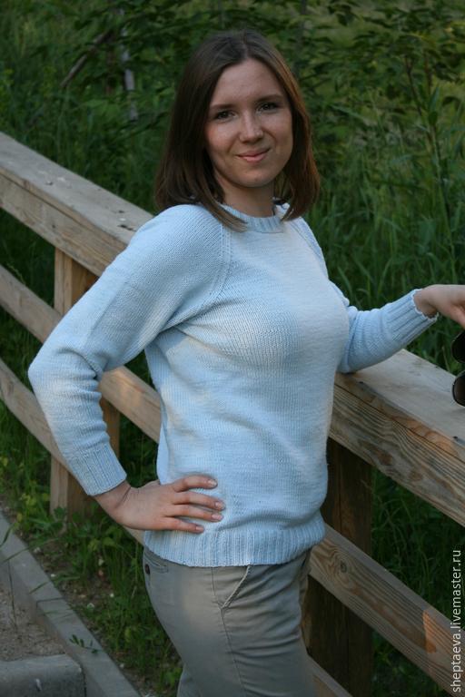 Кофты и свитера ручной работы. Ярмарка Мастеров - ручная работа. Купить Хлопковый свитер. Handmade. Голубой, свитер женский, хлопок