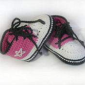 Работы для детей, ручной работы. Ярмарка Мастеров - ручная работа Пинетки кеды для девочек, пинетки вязаные, розовый, белый. Handmade.