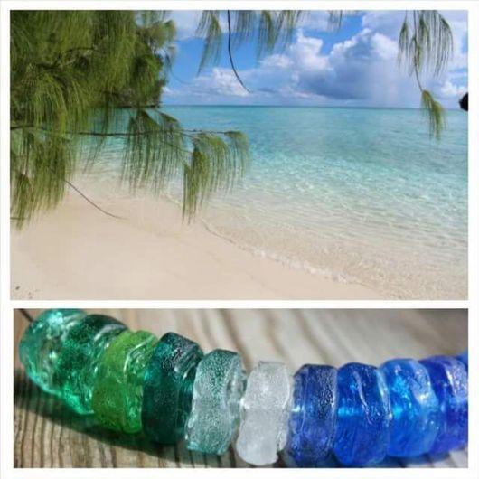 """Колье, бусы ручной работы. Ярмарка Мастеров - ручная работа. Купить Колье """"Мальдивы"""". Lampwork.. Handmade. Разноцветный, мальдивы"""