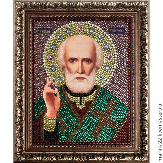 Икона стразами. Святой Николай Чудотворец