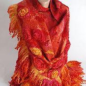 """Аксессуары ручной работы. Ярмарка Мастеров - ручная работа Шаль """"Margaret"""" красная. Handmade."""