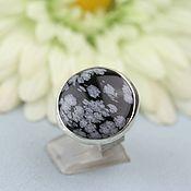 handmade. Livemaster - original item Ring with snow obsidian. Silver.. Handmade.