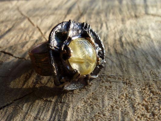 """Кольца ручной работы. Ярмарка Мастеров - ручная работа. Купить кольцо""""Орешек для Золушки"""". Handmade. Желтый, рутиловый кварц, рутиловый кварц"""