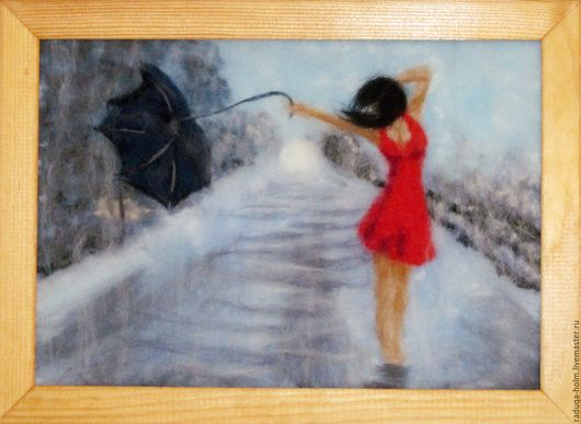 """Люди, ручной работы. Ярмарка Мастеров - ручная работа. Купить Ярмарка Мастеров - ручная работа. """"Под дождём"""" - шерстяная  живопись. Handmade."""