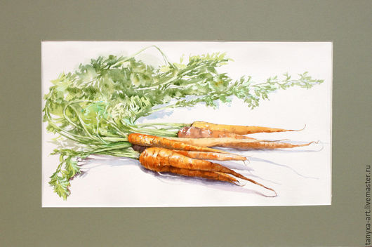 Натюрморт ручной работы. Ярмарка Мастеров - ручная работа. Купить Морковки. Handmade. Оранжевый, натюрморт с овощами, картина акварелью
