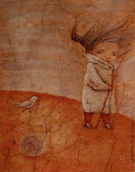 Картина печальный ангел. Девочка и птица.