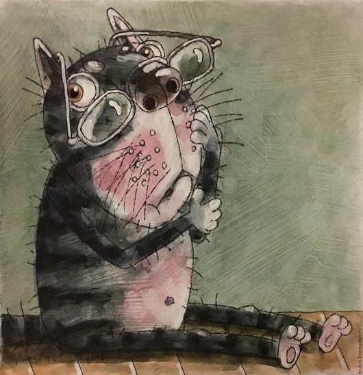 """Животные ручной работы. Ярмарка Мастеров - ручная работа. Купить """"Кот в очках"""" акварельная работа. Handmade. Серый, котики"""
