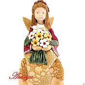 Для дома и интерьера ручной работы. Ярмарка Мастеров - ручная работа Статуэтка Девочка-ангел с цветами каминные статуэтки. Handmade.