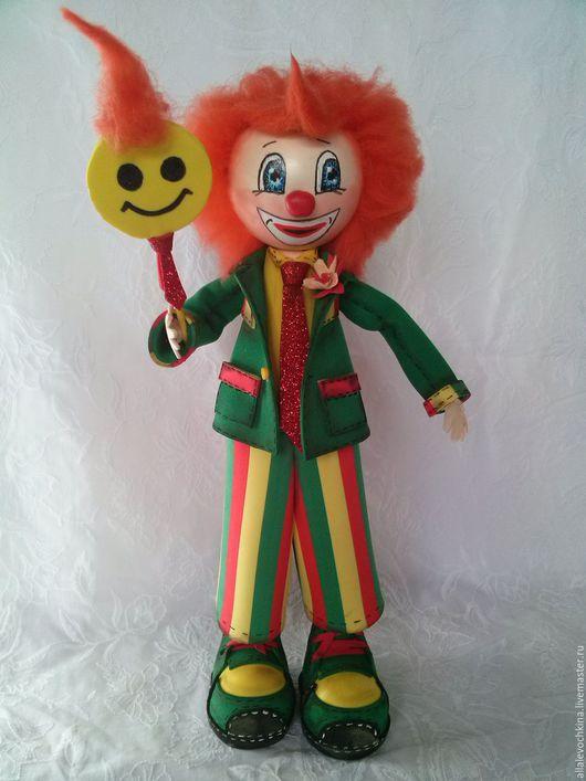 Человечки ручной работы. Ярмарка Мастеров - ручная работа. Купить Солнечный клоун. Handmade. Зеленый, кукла интерьерная