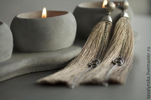 Серьги ручной работы. Ярмарка Мастеров - ручная работа. Купить серебряные серьги Бежевые кисти. Handmade. Бежевый, зеленый аметист