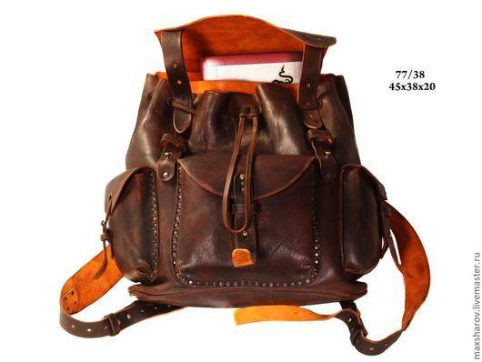 Рюкзаки ручной работы. Ярмарка Мастеров - ручная работа. Купить Рюкзак ручной работы кожаный коричневый состаренный art № 077. Handmade.