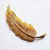 MONET - Очень большая винтажная брошь, золотого тона