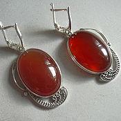 Украшения handmade. Livemaster - original item Earrings CARNELIAN, filigree 925 sterling silver.. Handmade.