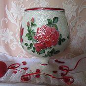 Вазы ручной работы. Стеклянная ваза Красные розы