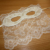 Русский стиль handmade. Livemaster - original item Milk satin mask with lace. Handmade.
