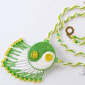 Украшения handmade. Livemaster - original item Pendant bead embroidery Spring harmony yellow green. Handmade.