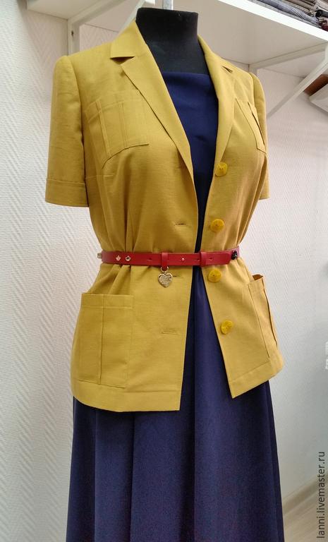 Блузки ручной работы. Ярмарка Мастеров - ручная работа. Купить Жакет-рубашка в стиле сафари. Handmade. Рубашка, офис, лён