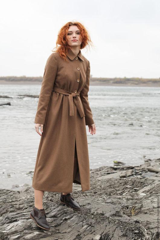 Верхняя одежда ручной работы. Ярмарка Мастеров - ручная работа. Купить Длинное осеннее пальто в пол, коричневый шерстяной драп. Handmade.