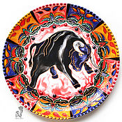 Картины и панно handmade. Livemaster - original item The bull is a symbol of fertility and power plate on the wall 2021 of the new year. Handmade.