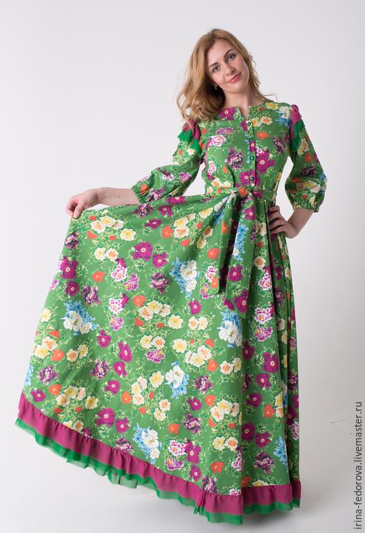 """Платья ручной работы. Ярмарка Мастеров - ручная работа. Купить Платье """"Зеленая поляна"""" П-30. Handmade. Разноцветный, шифон"""