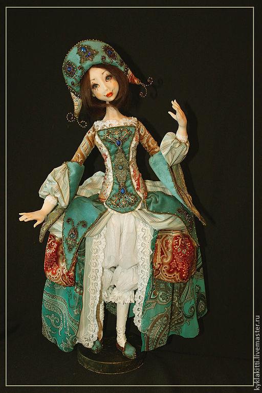 Коллекционные куклы ручной работы. Ярмарка Мастеров - ручная работа. Купить Коломбина. Handmade. Бирюзовый, фимо, немецкий бархат