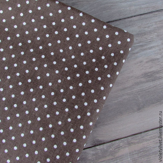 Ткань лен натуральный 50х50  см,  Горох на коричневом фоне 1016