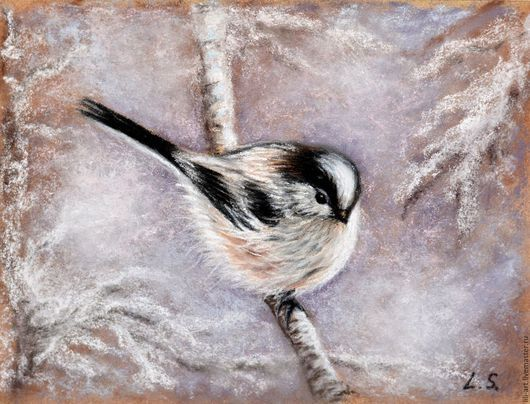 Снежная птичка на ветке. картина пастелью