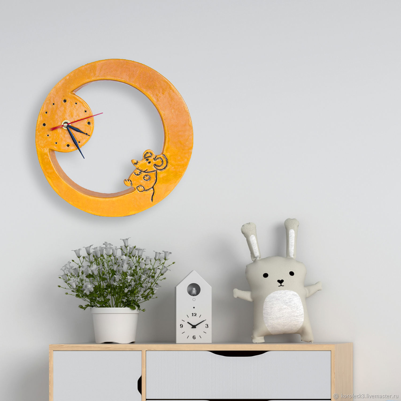 Часы настенные керамические Мышки ручной работы - символ 2020 года, Часы классические, Москва,  Фото №1