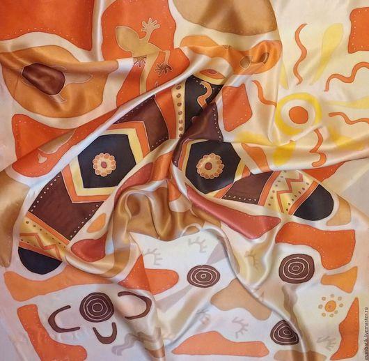 Шейный шелковый платок Бумеранг. Натуральный шёлк, атлас, шелковый платок женский, шелковый платок на шею -  стильный аксессуар, подарок подруге или сотруднице, подарок на на любой случай.