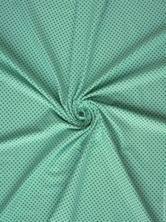 Ткань хлопок, трикотажное джерси цвета мяты . Материалы для творчества купить на Ярмарке Мастеров. Ткань в горошек.